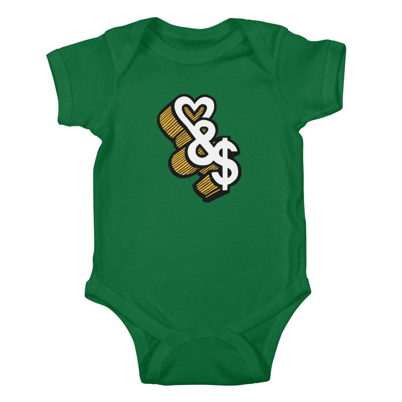 love & money Kids Baby Bodysuit by bortwein's Artist Shop