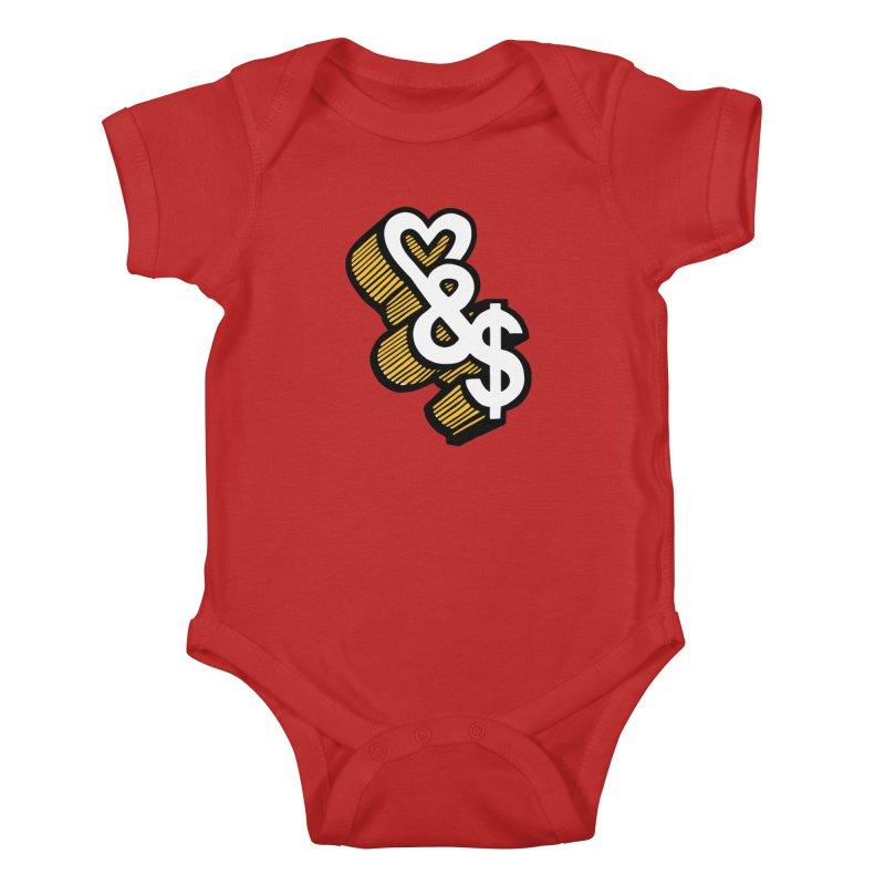 love & money Kids Baby Bodysuit by bortwein's Artist Shop