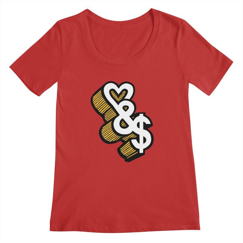 love & money Women's Scoopneck by bortwein's Artist Shop