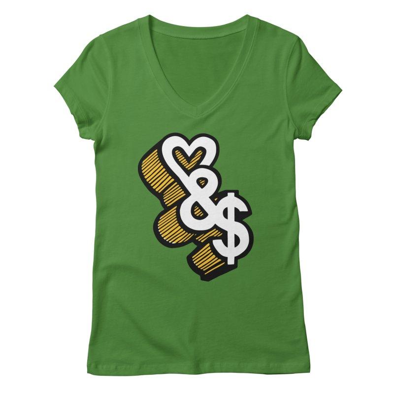 love & money Women's V-Neck by bortwein's Artist Shop