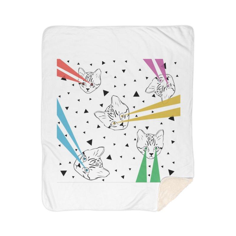 Lazer Cat Home Sherpa Blanket Blanket by Boshik's Tshirt Shop