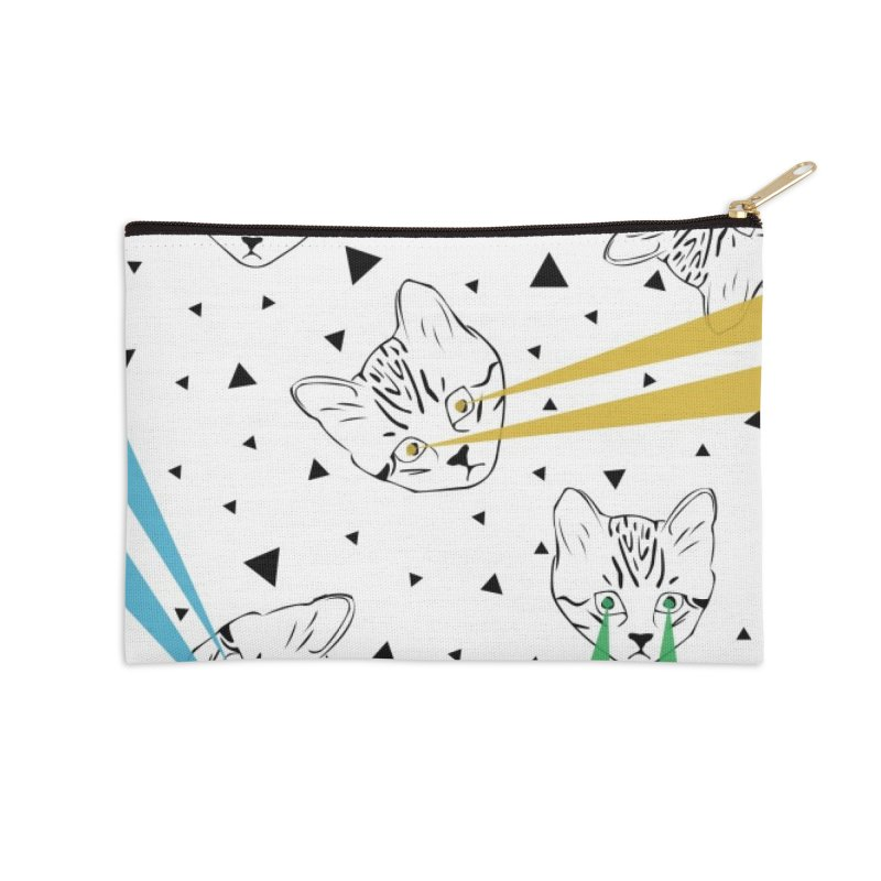 Lazer Cat Accessories Zip Pouch by Boshik's Tshirt Shop