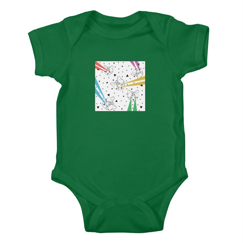 Lazer Cat Kids Baby Bodysuit by Boshik's Tshirt Shop