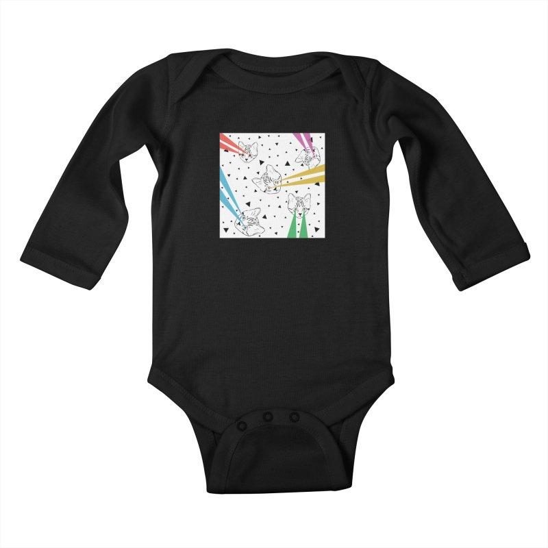 Lazer Cat Kids Baby Longsleeve Bodysuit by Boshik's Tshirt Shop