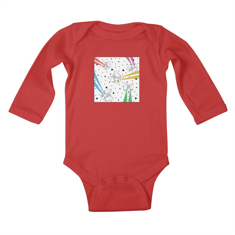 Lazer Cat Kids Baby Longsleeve Bodysuit by Boshik's Tshirt Shop