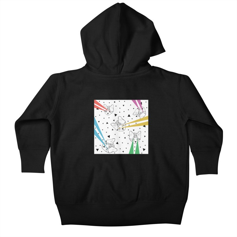 Lazer Cat Kids Baby Zip-Up Hoody by Boshik's Tshirt Shop