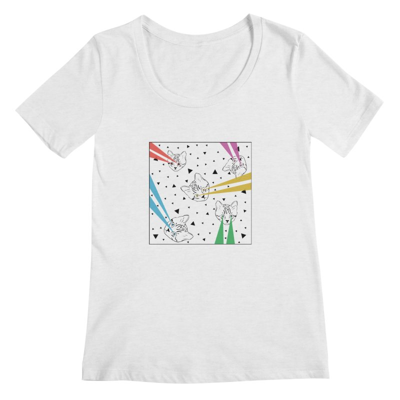 Lazer Cat Women's Scoop Neck by Boshik's Tshirt Shop