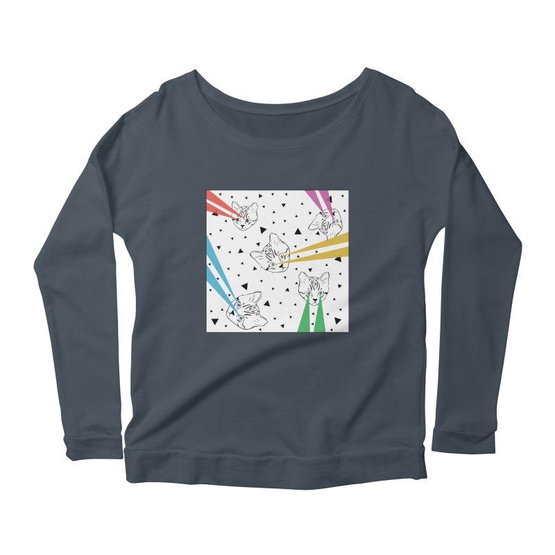 Lazer Cat Women's Scoop Neck Longsleeve T-Shirt by Boshik's Tshirt Shop