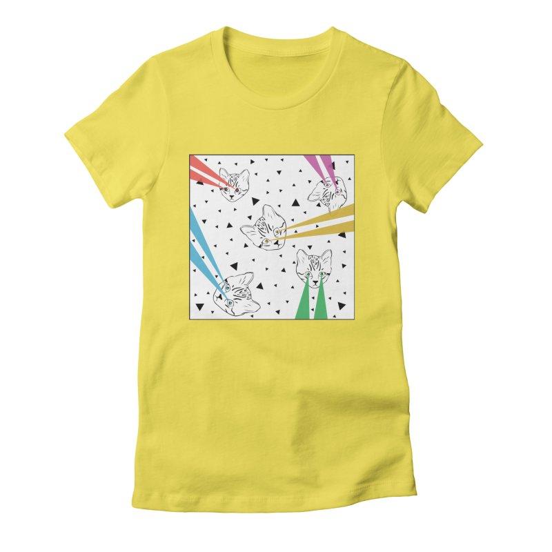 Lazer Cat Women's Fitted T-Shirt by Boshik's Tshirt Shop