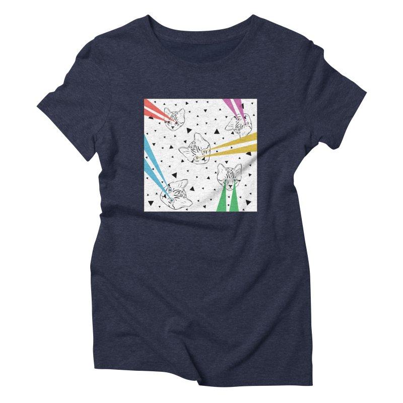 Lazer Cat Women's Triblend T-Shirt by Boshik's Tshirt Shop