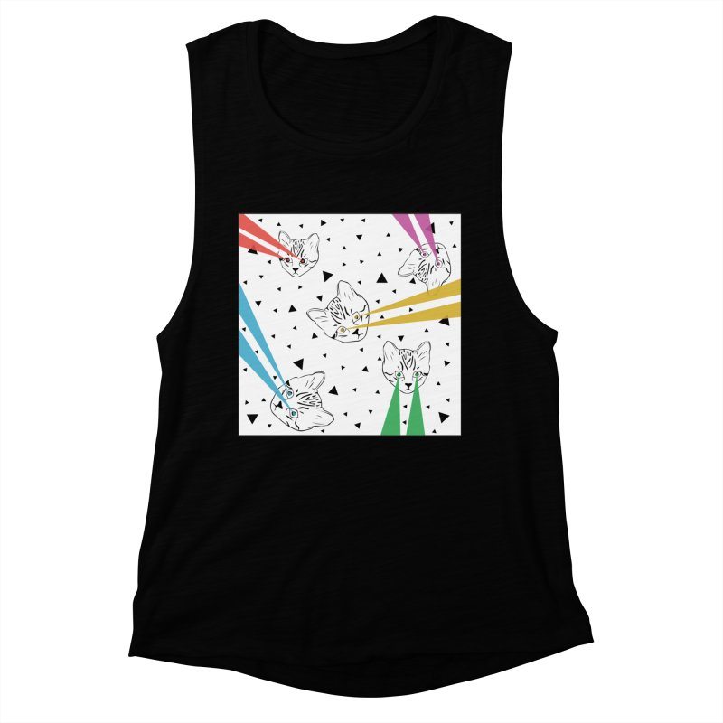Lazer Cat Women's Muscle Tank by Boshik's Tshirt Shop