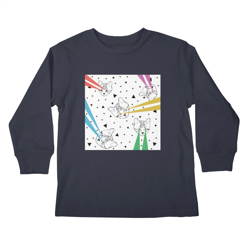 Lazer Cat Kids Longsleeve T-Shirt by Boshik's Tshirt Shop