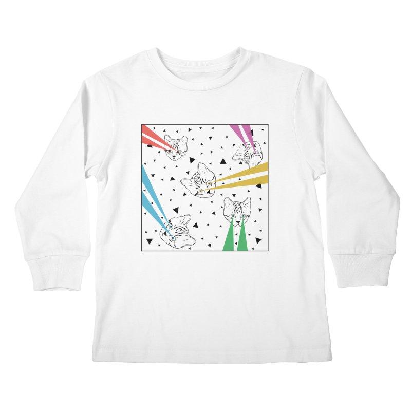Lazer Cat Kids Longsleeve T-Shirt by Boshik's Tshirt Shop