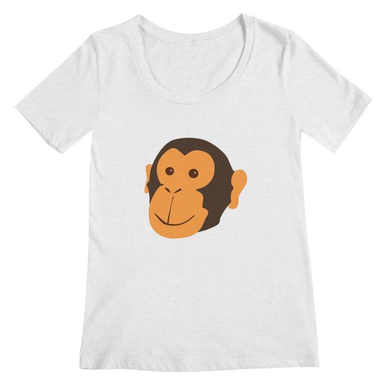 Happy Monkey Women's Regular Scoop Neck by Boshik's Tshirt Shop