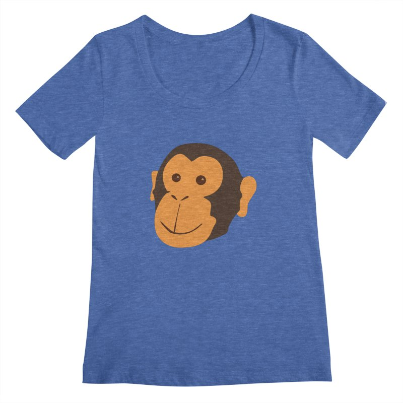 Happy Monkey  Women's Scoopneck by Boshik's Tshirt Shop
