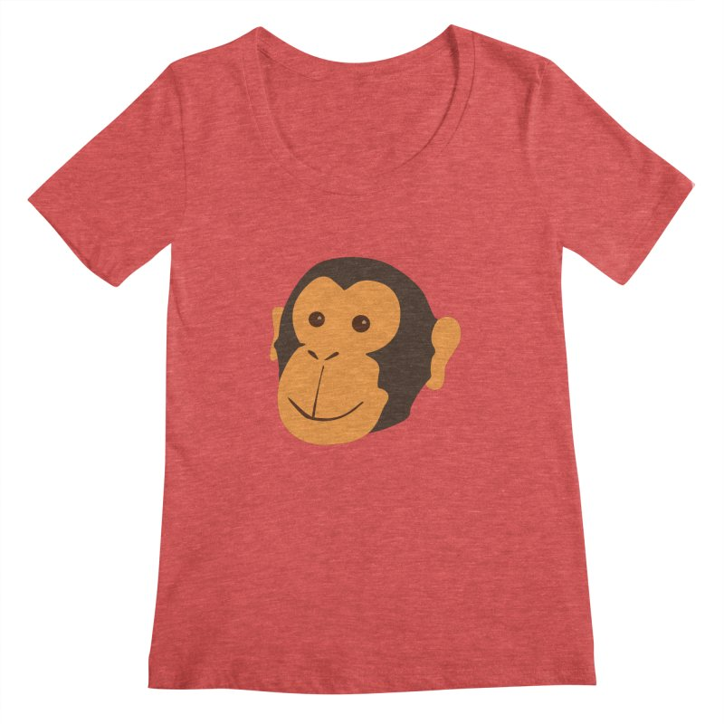 Happy Monkey  Women's Scoopneck by Boshik's Tshirt Shop
