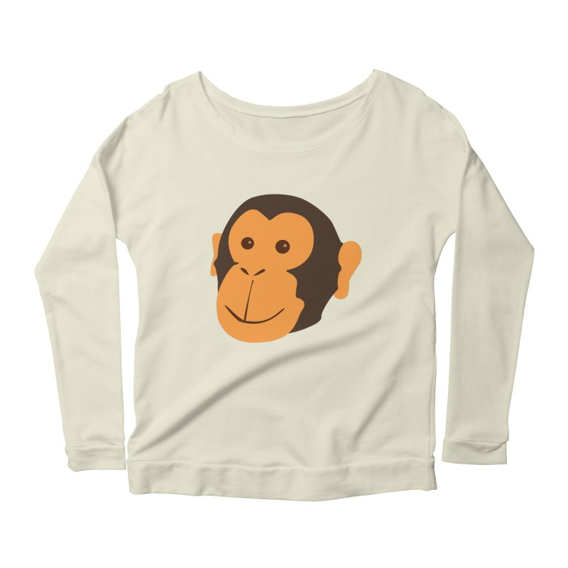 Happy Monkey  Women's Longsleeve Scoopneck  by Boshik's Tshirt Shop