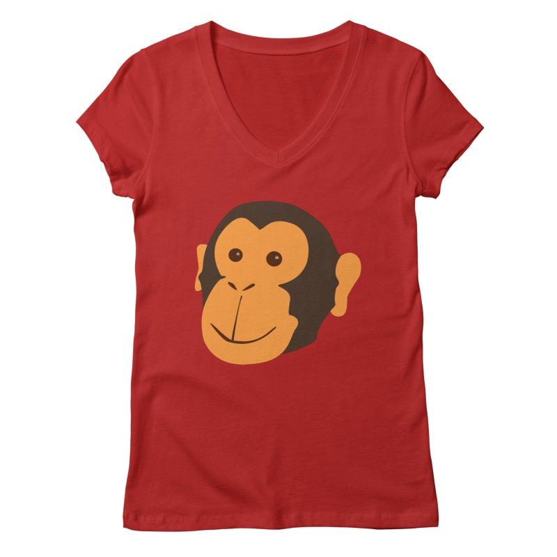 Happy Monkey  Women's V-Neck by Boshik's Tshirt Shop