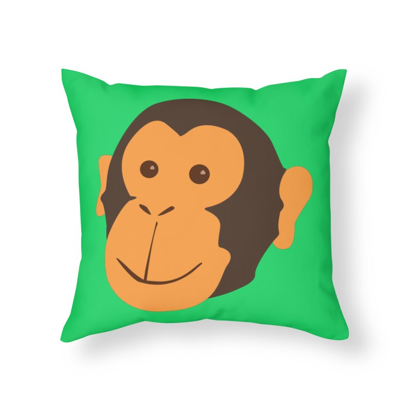 Happy Monkey  Home Throw Pillow by Boshik's Tshirt Shop