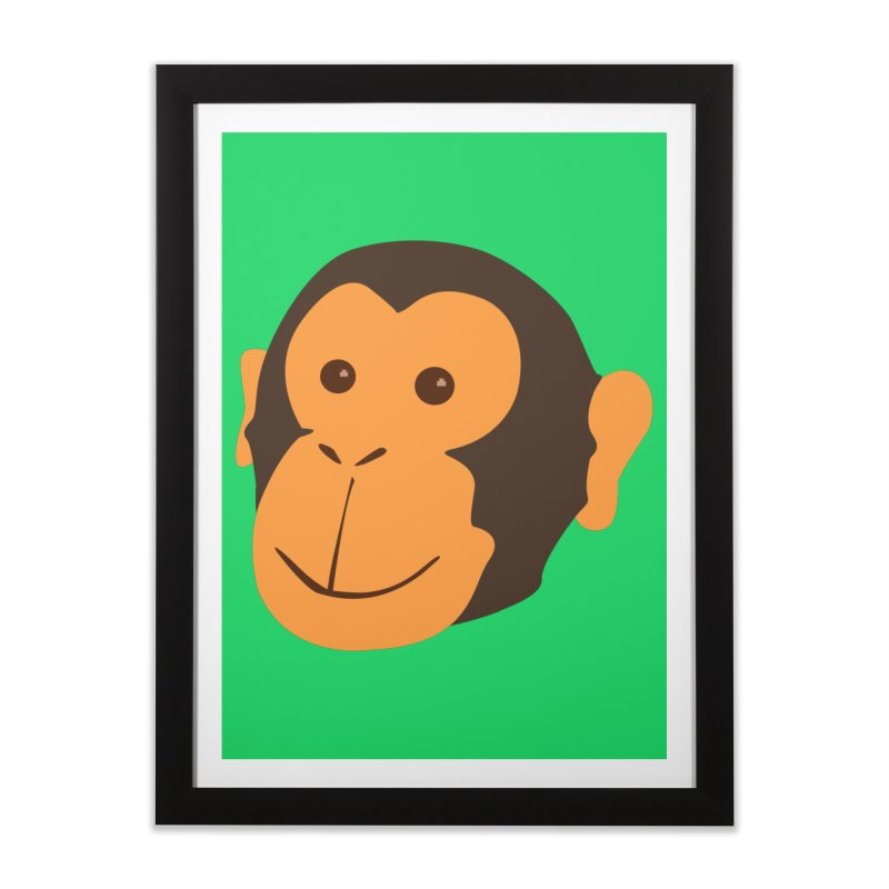 Happy Monkey  Home Framed Fine Art Print by Boshik's Tshirt Shop