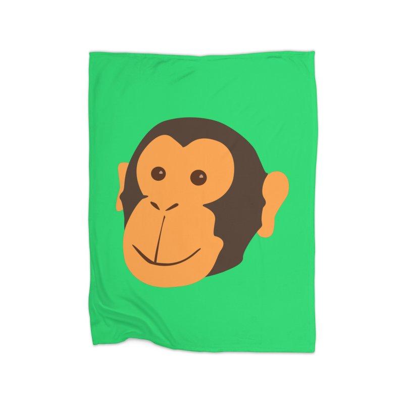 Happy Monkey Home Fleece Blanket Blanket by Boshik's Tshirt Shop