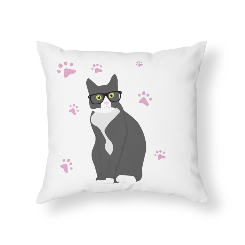 C is for Cat Home Throw Pillow by Boshik's Tshirt Shop
