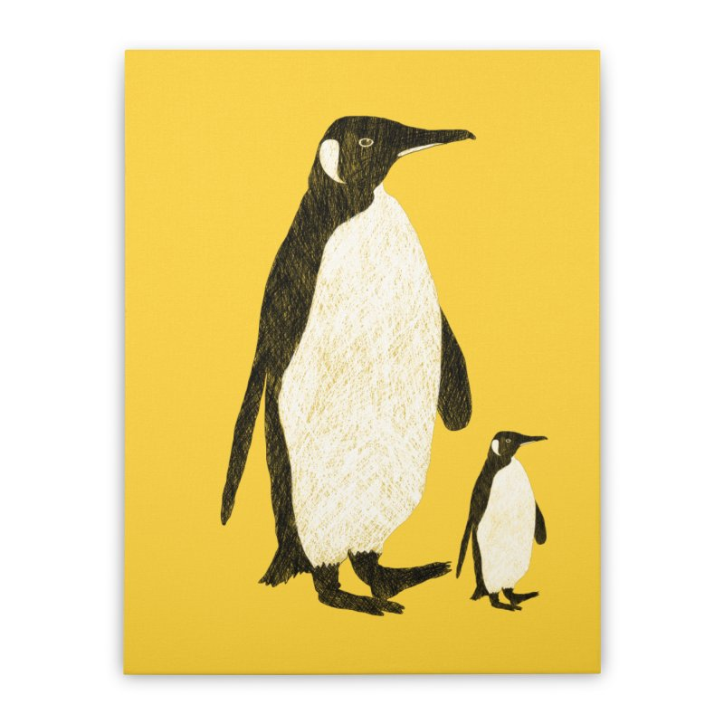 Penguins Home Stretched Canvas by Boshik's Tshirt Shop