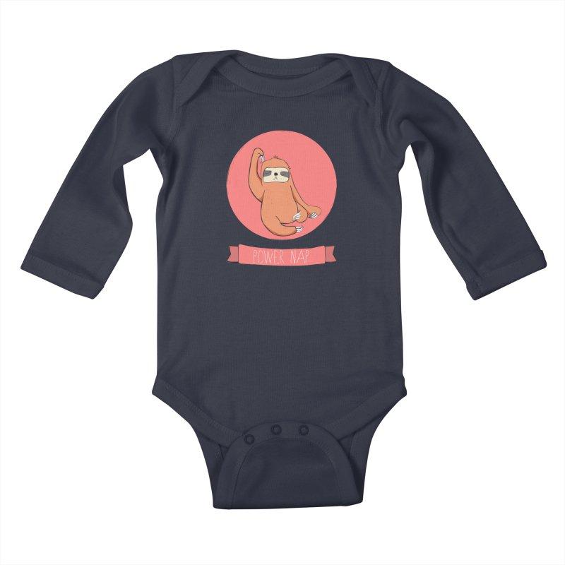 Power Nap- Red Kids Baby Longsleeve Bodysuit by Boshik's Tshirt Shop