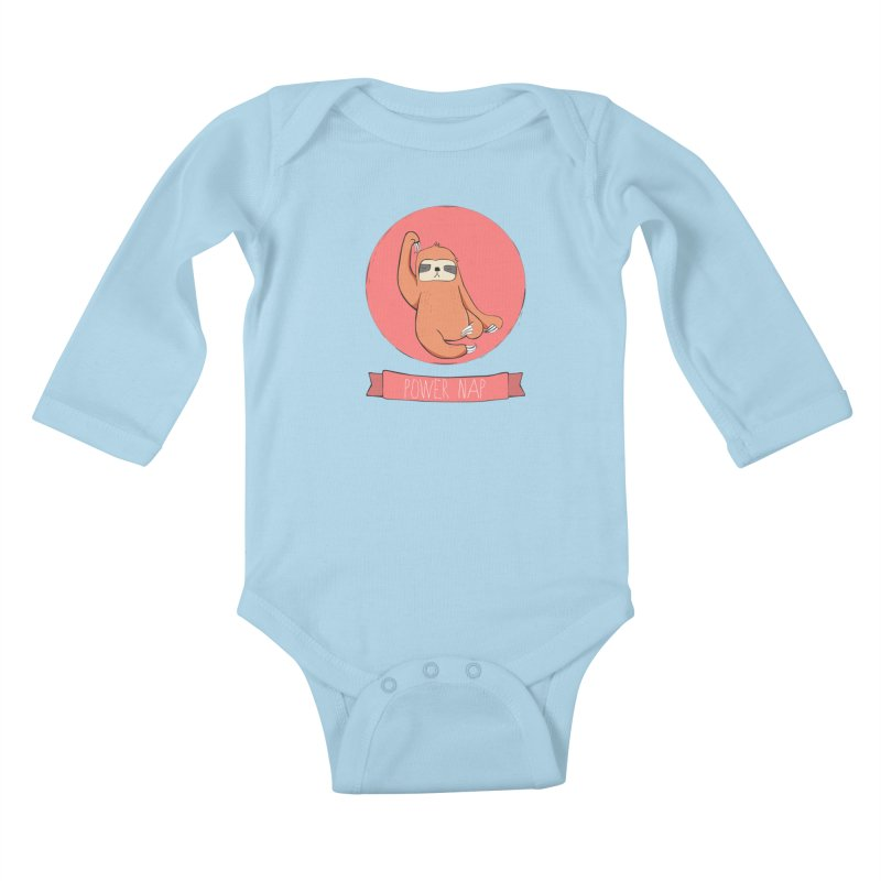 Power Nap- Red Kids Baby Longsleeve Bodysuit by Boshik's Tshirt Shop