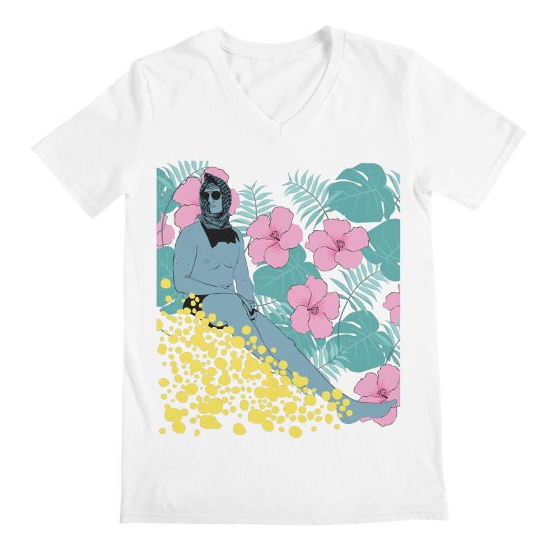 Floral Men's V-Neck by Boshik's Tshirt Shop