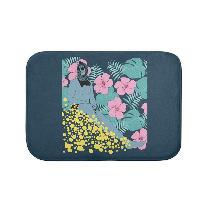 Floral Home Bath Mat by Boshik's Tshirt Shop