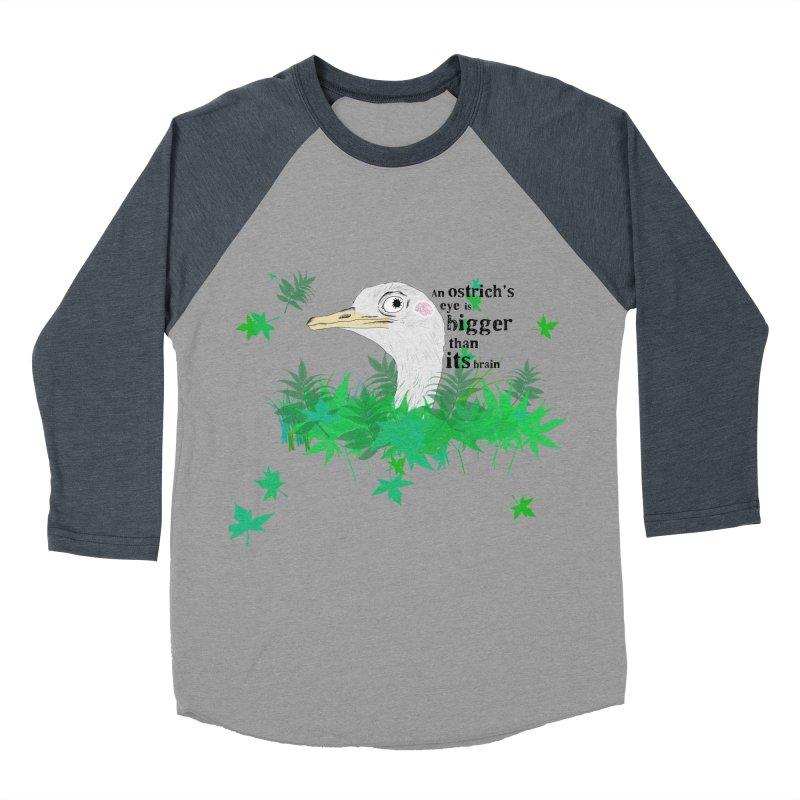 An Ostrich's eye is bigger than it's brain Men's Baseball Triblend T-Shirt by Boshik's Tshirt Shop