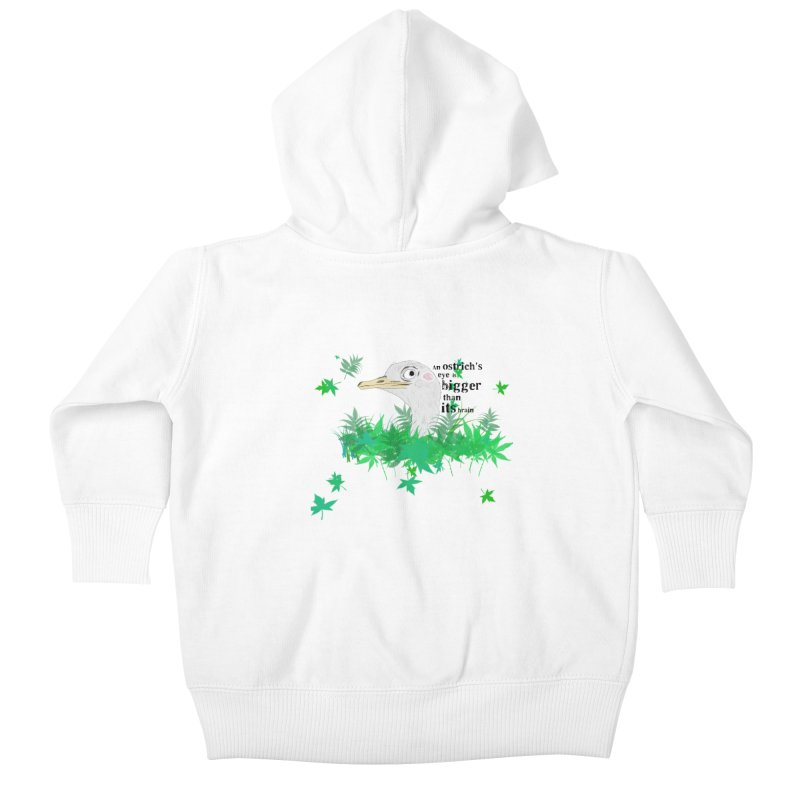 An Ostrich's eye is bigger than it's brain Kids Baby Zip-Up Hoody by Boshik's Tshirt Shop