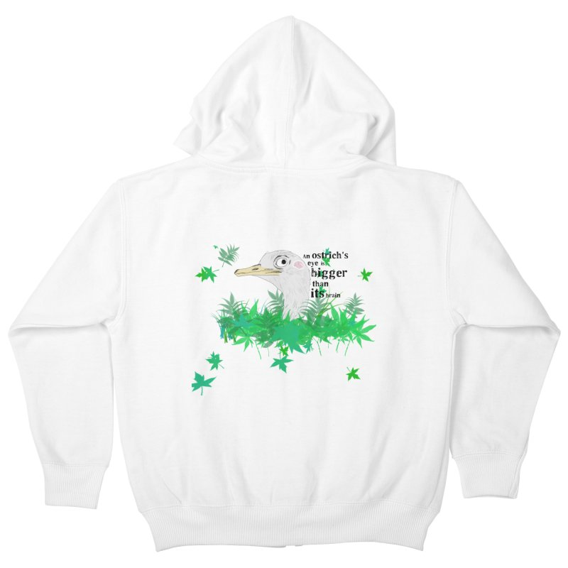 An Ostrich's eye is bigger than it's brain Kids Zip-Up Hoody by Boshik's Tshirt Shop