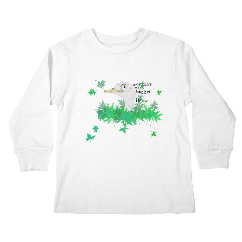 An Ostrich's eye is bigger than it's brain Kids Longsleeve T-Shirt by Boshik's Tshirt Shop