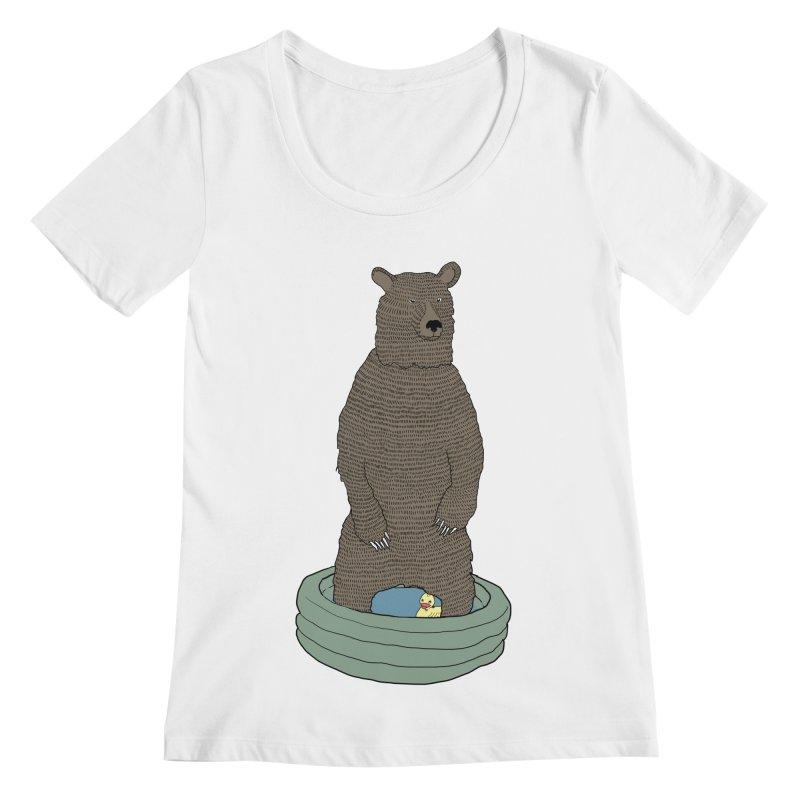 Bear in a pool Women's Regular Scoop Neck by Boshik's Tshirt Shop