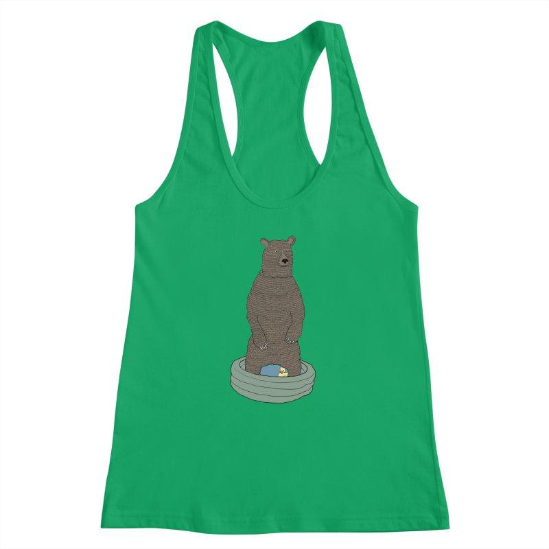 Bear in a pool Women's Racerback Tank by Boshik's Tshirt Shop