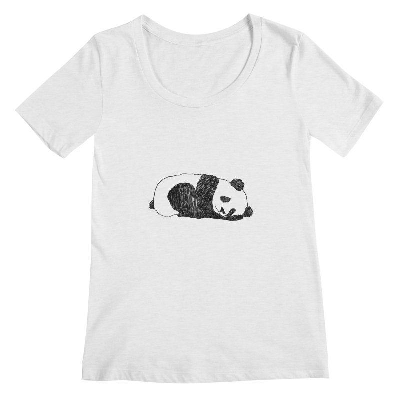 Sleeping panda Women's Regular Scoop Neck by Boshik's Tshirt Shop