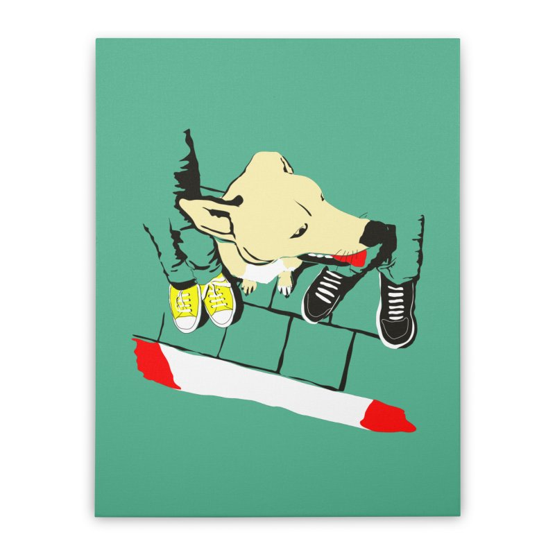 Sneakers & Dogs Home Stretched Canvas by Boshik's Tshirt Shop