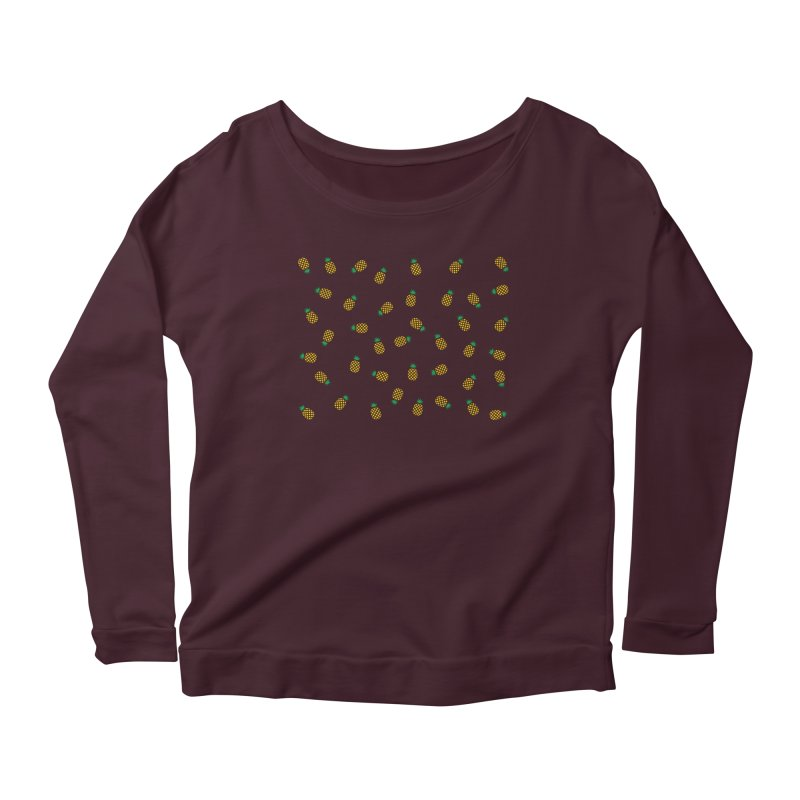 Pineapples Everywhere Women's Scoop Neck Longsleeve T-Shirt by Boshik's Tshirt Shop
