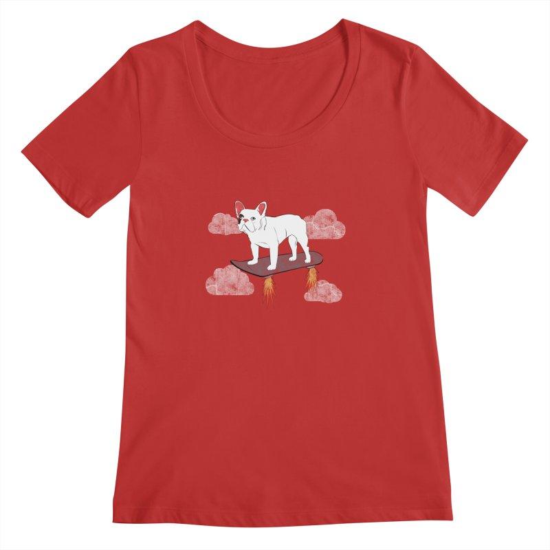 Hover Dog Women's Regular Scoop Neck by Boshik's Tshirt Shop