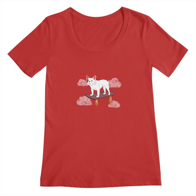 Hover Dog Women's Scoopneck by Boshik's Tshirt Shop