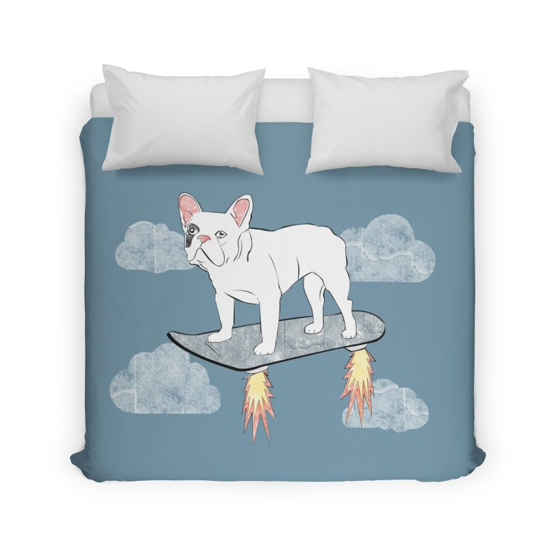 Hover Dog Home Duvet by Boshik's Tshirt Shop