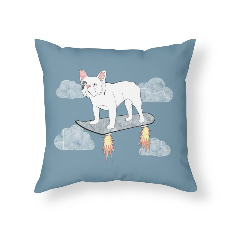 Hover Dog Home Throw Pillow by Boshik's Tshirt Shop