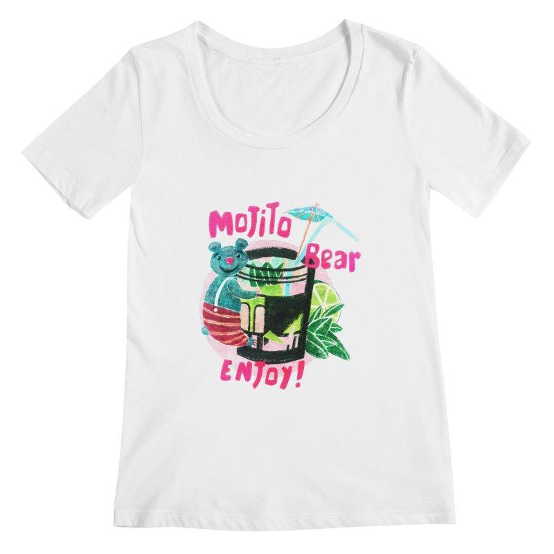 Mojito bear Women's Regular Scoop Neck by Bottone magliette