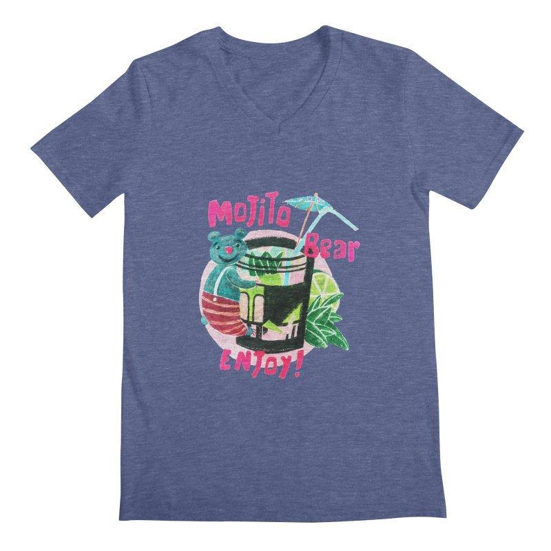 Mojito bear Men's Regular V-Neck by Bottone magliette