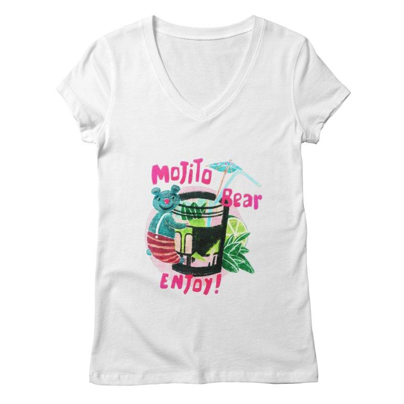 Mojito bear Women's Regular V-Neck by Bottone magliette