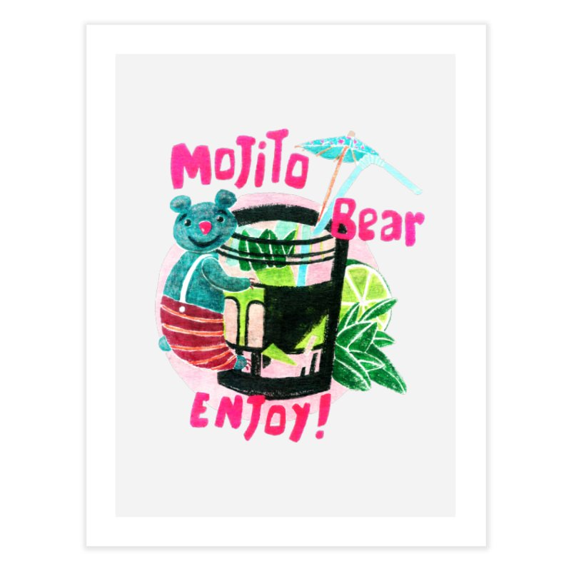 Mojito bear Home Fine Art Print by Bottone magliette