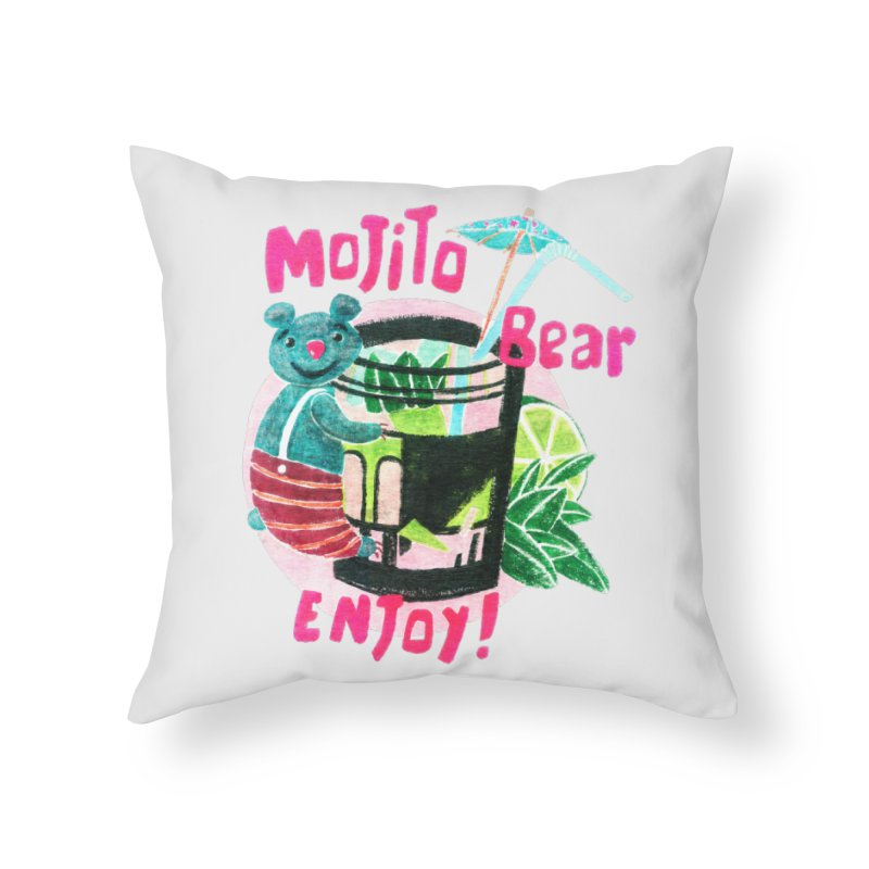 Mojito bear Home Throw Pillow by Bottone magliette