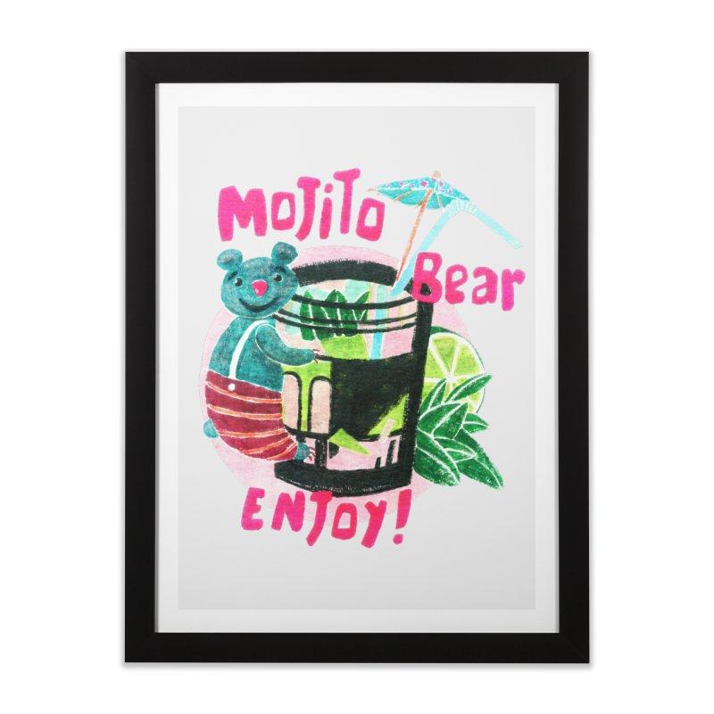Mojito bear Home Framed Fine Art Print by Bottone magliette